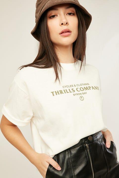 Thrills Never Broken Merch Crop Tee Dirty White/Washed Navy Print
