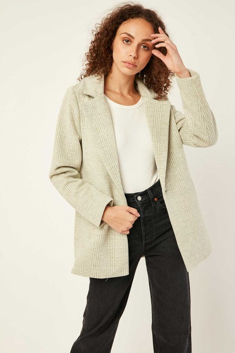 PERFECT STRANGER Check Coat Green Print