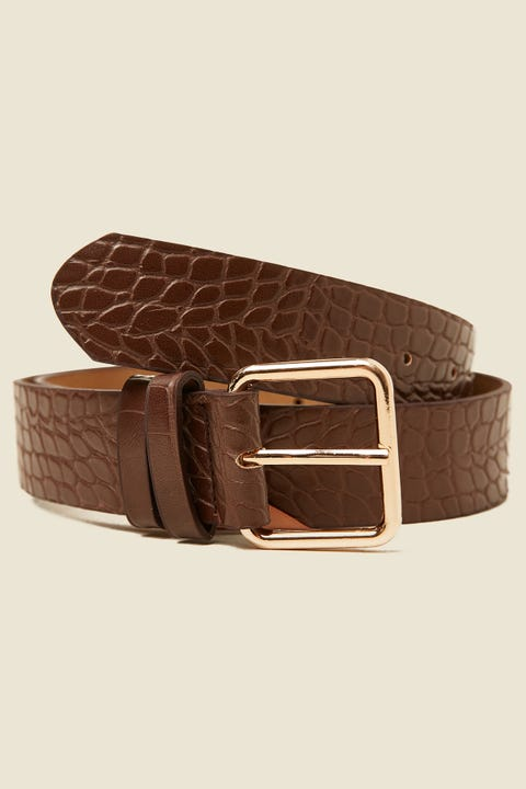 TOKEN Precise Croc Belt Brown