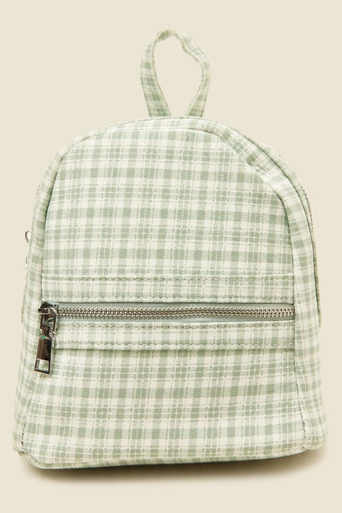TOKEN Mini Check Backpack Green Print