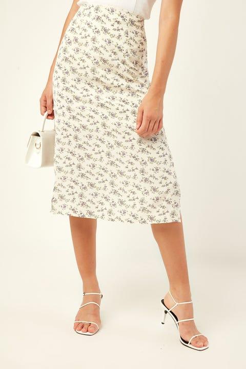 PERFECT STRANGER French Vines Midi Skirt White Print