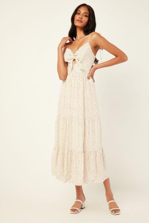 LUCK & TROUBLE Kira Midi Dress White Print