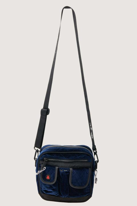 Bumbag Co x Bobby Long Utility Double Zip Shoulder Bag Navy Blue Quilted Velour