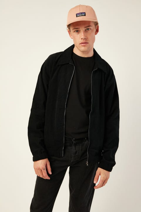 Common Need Growler Zip Front Corduroy Jacket Black