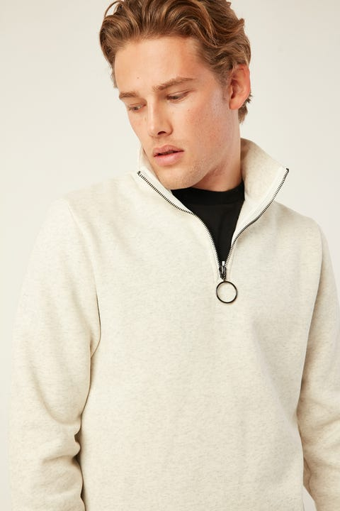 COMMON NEED Elm Slim 1/4 Zip Fleece Snow Marle