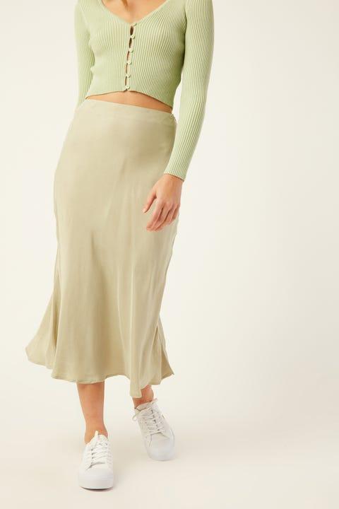 PERFECT STRANGER Saskia Slip Midi Skirt Sage