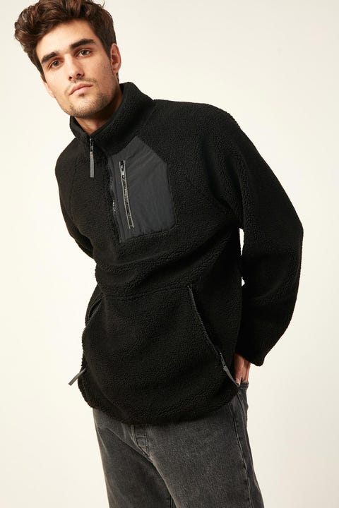 COMMON NEED Avalanche 1/4 Zip Fleece Black