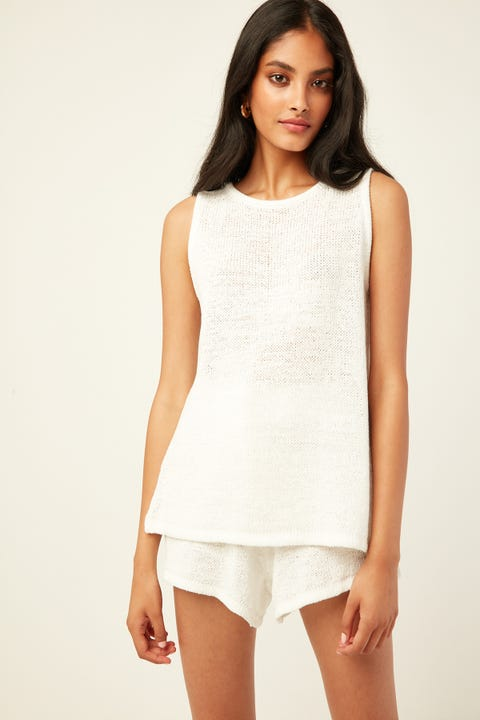 PERFECT STRANGER Rewind Knit Top Cream