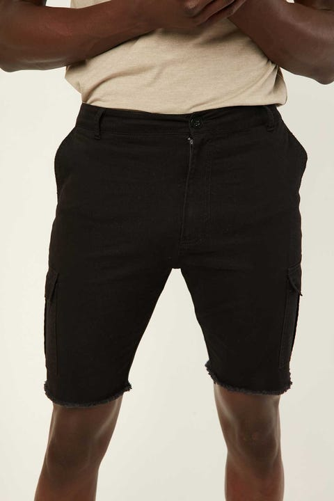 COMMON NEED Slim Cargo Short Black