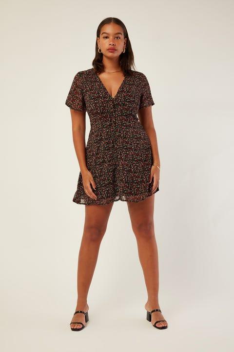 PERFECT STRANGER Graceful Mini Dress Black Print
