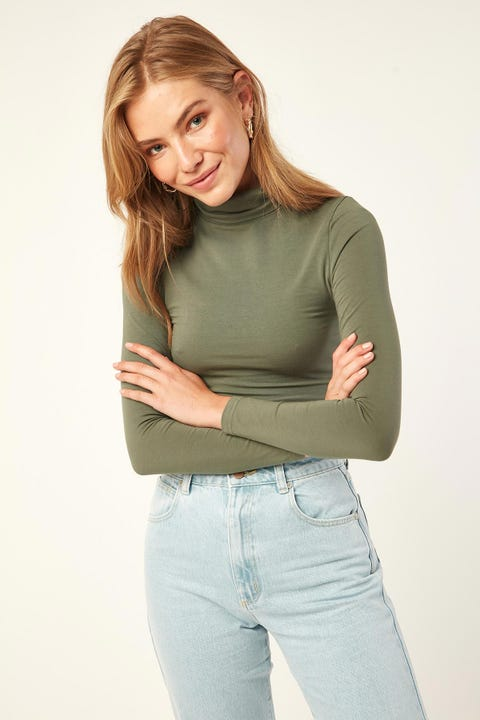 L&T Essential Turtle Neck Top Green