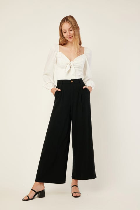 PERFECT STRANGER Mara Linen Pant Black