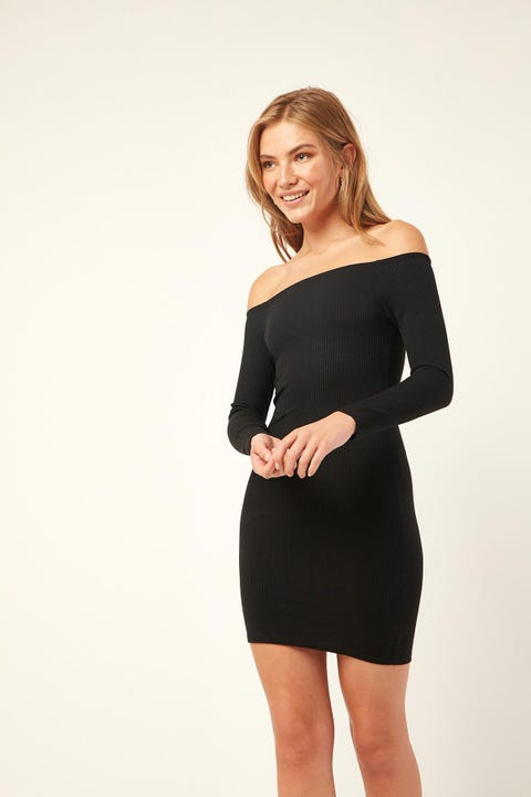 L&T Adrift Off Shoulder Dress Black