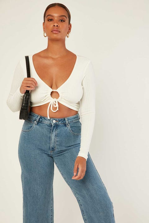 Luck & Trouble Cassia Cinch Long Sleeve Crop White