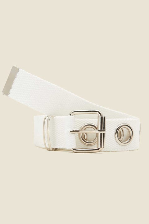 Token Eyelet Webbing Belt White