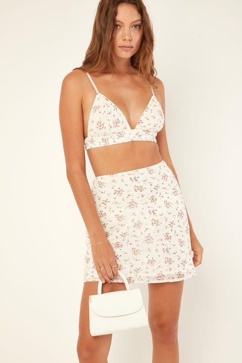Perfect Stranger Look At Me Mini Skirt White Print