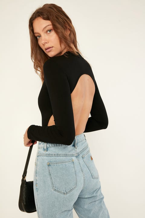 LUCK & TROUBLE Backless Bodysuit Black