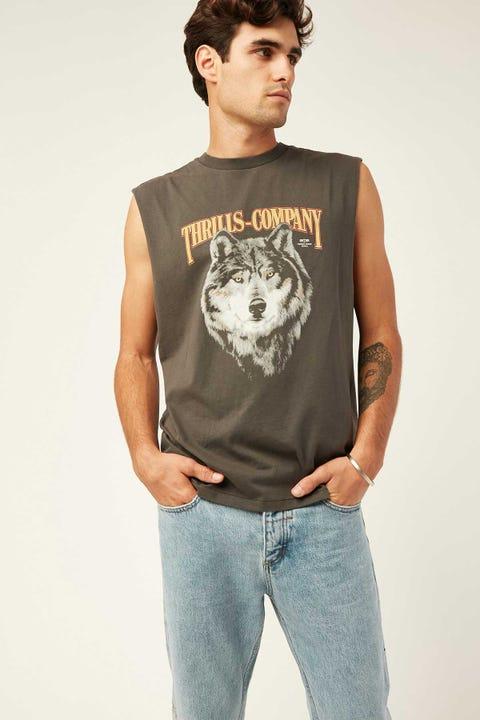 Thrills Wolf Muscle Merch Black