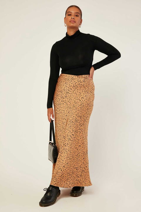 LUCK & TROUBLE Safari Tour Maxi Skirt Brown Print