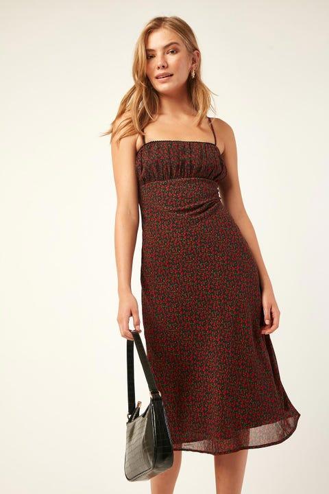 LUCK & TROUBLE Nostalgic Love Midi Dress Black Print