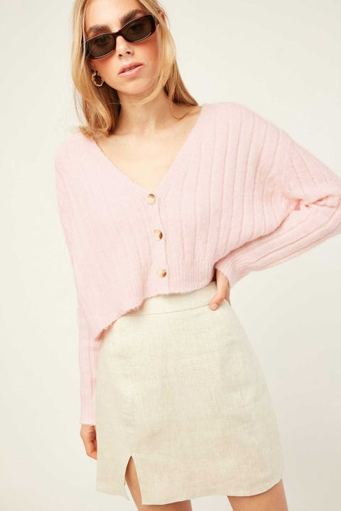 LUCK & TROUBLE Cozy Cropped Cardigan Pink
