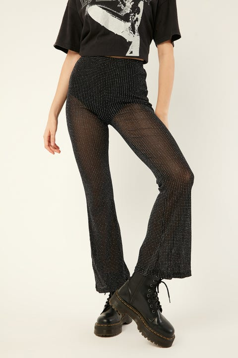LUCK & TROUBLE Flashy Glitter Flares Black