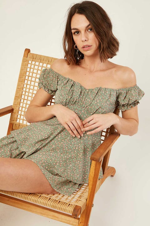 LUCK & TROUBLE Maisey Floral Playsuit Sage