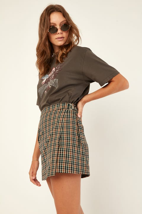 LUCK & TROUBLE Check Wrap Mini Skirt Brown Print