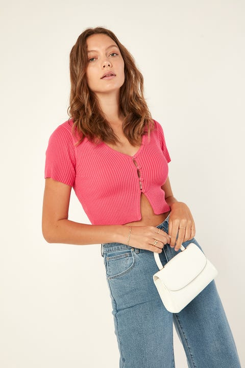 PERFECT STRANGER One Night Knit Top Pink