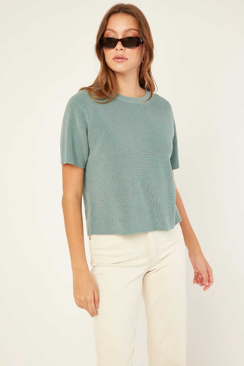 Perfect Stranger Knitted T-Shirt Teal