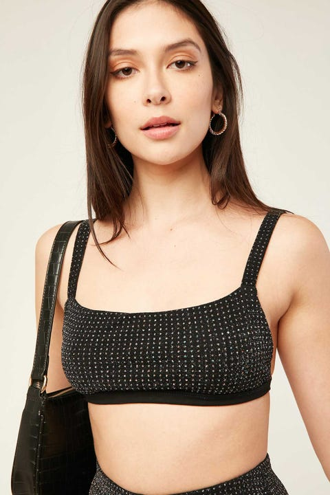 Luck & Trouble Flashy Glitter Bralette Black