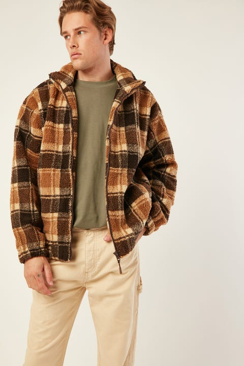 COMMON NEED Grizzly Sherpa Jacket Brown Check