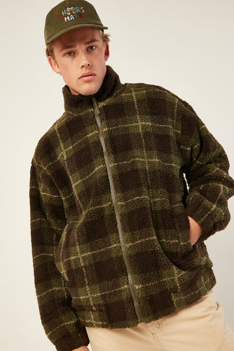 COMMON NEED Grizzly Sherpa Jacket Green Check