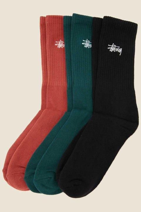 STUSSY Graffiti Sock 3 Pack Brick/Hunter Green/Black
