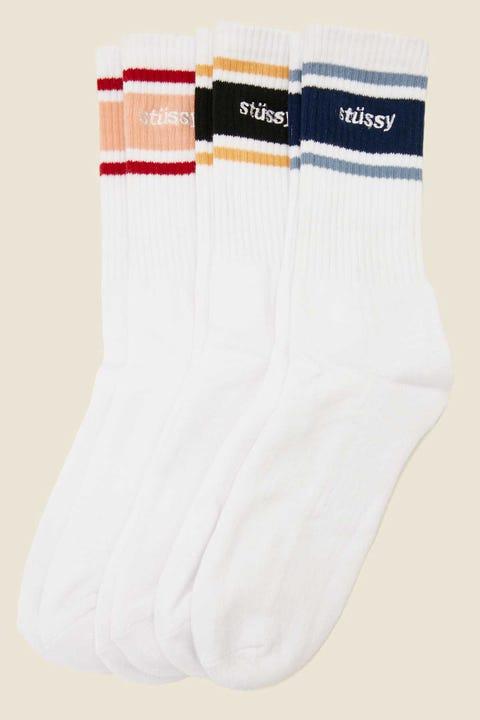 Stussy Italic Sport Sock 3 Pack White/Multi
