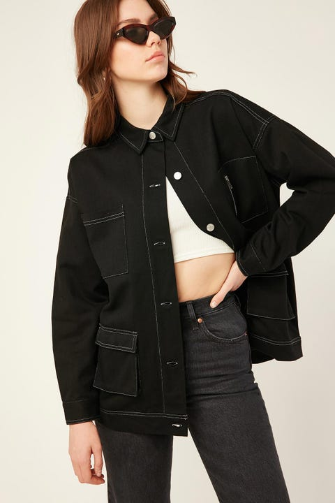 LUCK & TROUBLE Contrast Stitch Jacket Black