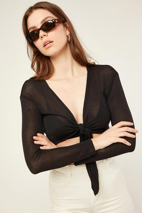 Perfect Stranger Shay Tie Front Top Black