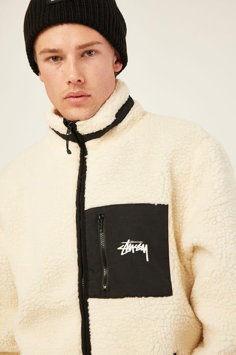 STUSSY Southgate Sherpa Jacket Off White
