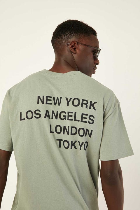 STUSSY Stack Text SS Tee Seagrass