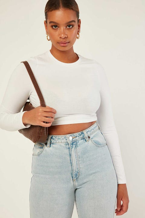L&T Long Sleeve Super Crop White