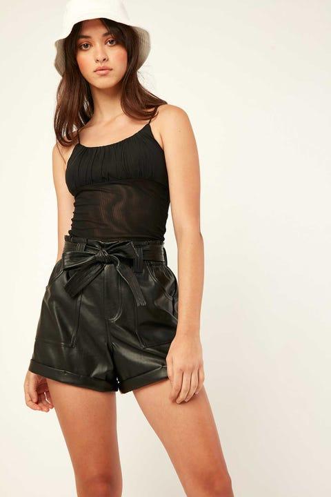 LUCK & TROUBLE Bebe PU Shorts Black