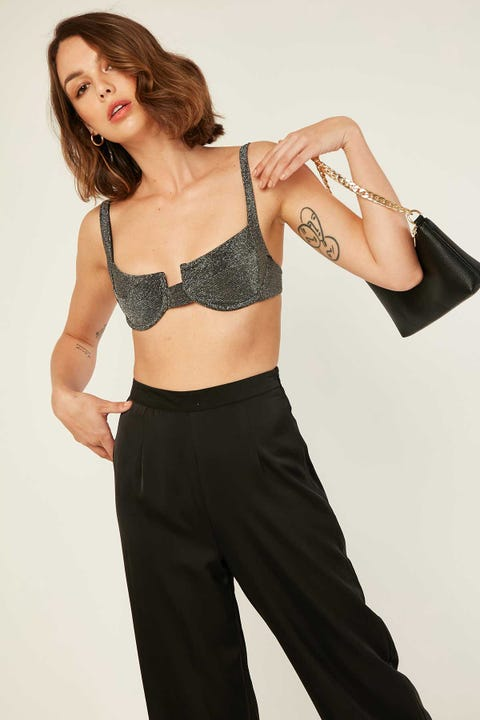 Luck & Trouble Lurex Bralette Black