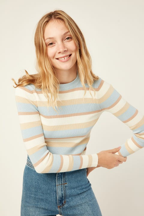 LUCK & TROUBLE Astra Knit Top Blue Stripe