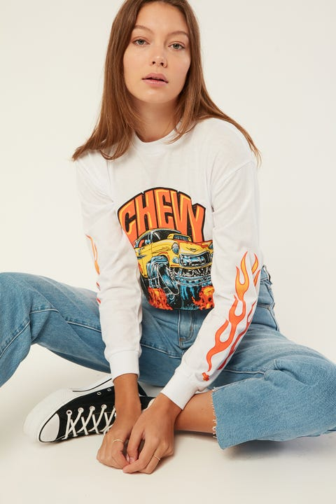 Brixton 55 Heavy Long Sleeve Crop Tee White