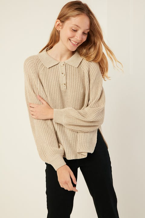 PERFECT STRANGER Collared Sweater Oat