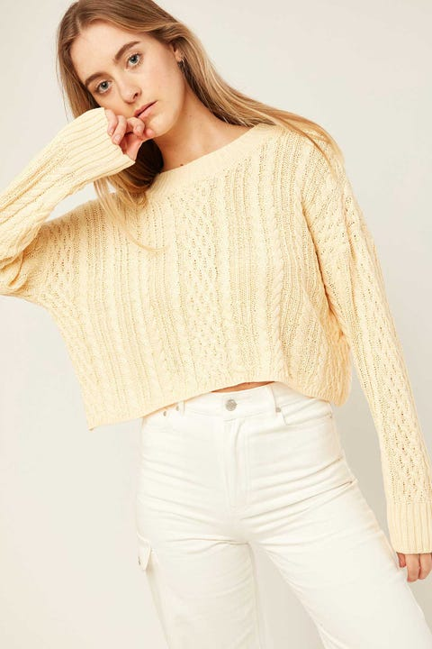 LUCK & TROUBLE Pursue Cable Knit Yellow
