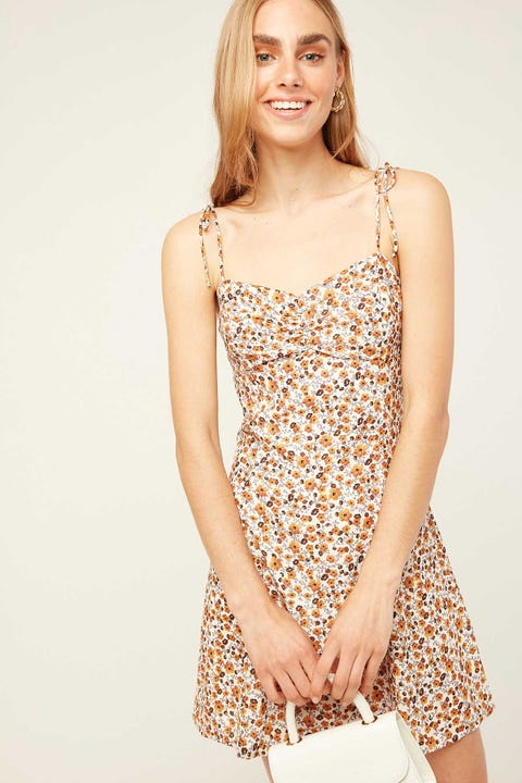 PERFECT STRANGER Sasha Cinch Mini Dress Cream Print