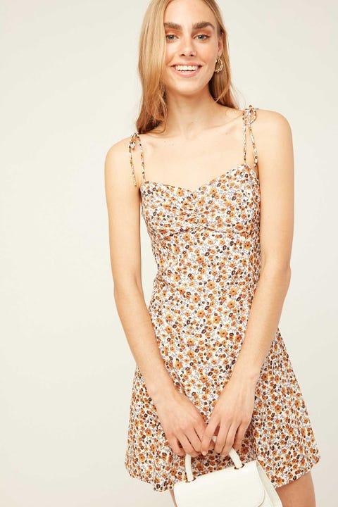 Perfect Stranger Sasha Cinch Mini Dress Cream Print