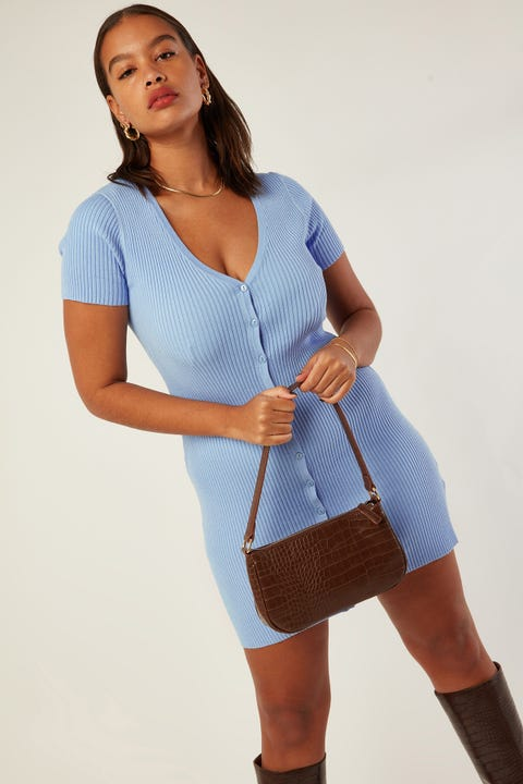 PERFECT STRANGER Next Day Knit Dress Blue