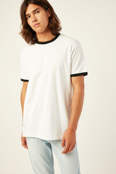 AS COLOUR Ringer Tee White/Black